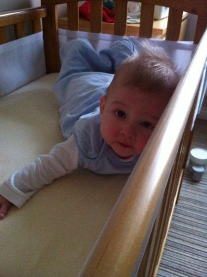 Baby lying on his tummy