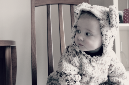 Baby in a bear suit